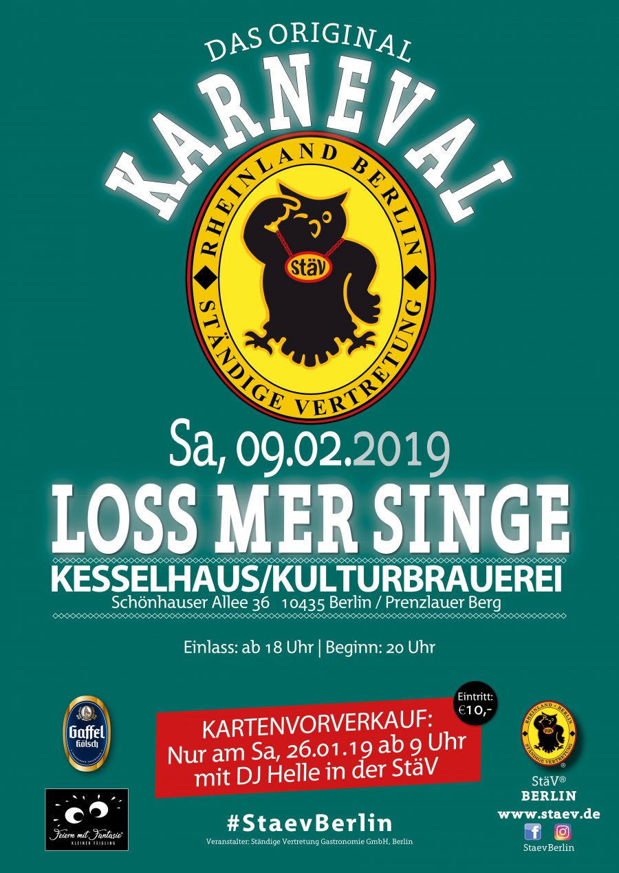 Loss mer Singe 09.02.2019 Karneval in Berlin - Das Original